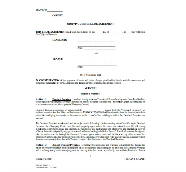 shopping center lease agreement