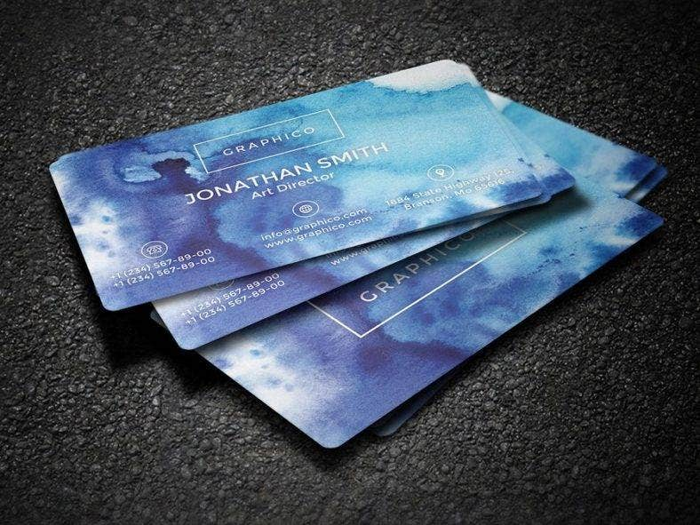 simple watercolor painter business card 788x591