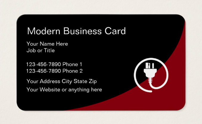 sleek and modern electrician business card template - Electrician Business Cards