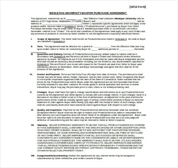 stanley master purchase agreement