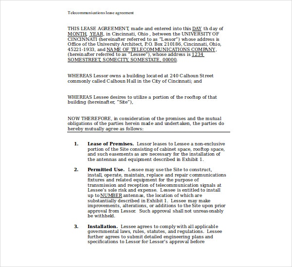telecommunications lease agreement