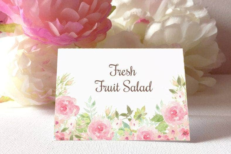 watercolor flowers table tent card 788x525