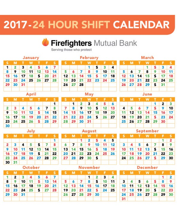 24-hour Shift Calendar