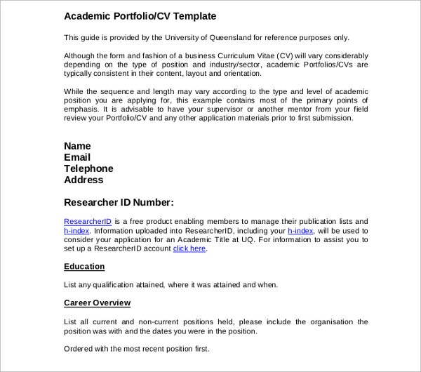 academic business cv template