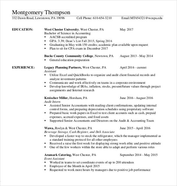 accountant finance resume sample