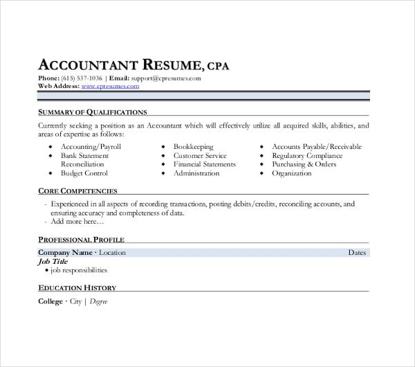 31+ Accountant Resume Design Templates - PDF, DOC | Free & Premium ...