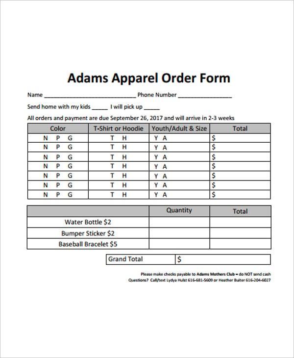 adams apparel order form