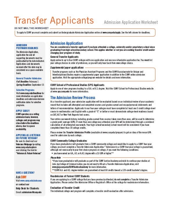 admission-transfer-application-worksheet