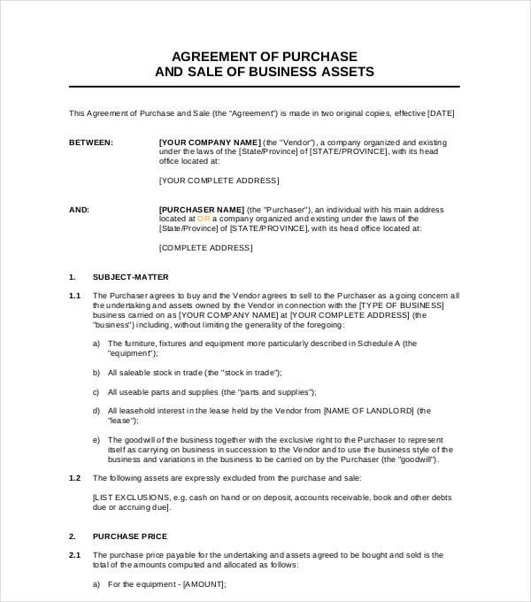 6 Sale Of Business Agreement Pdf Doc Free Premium