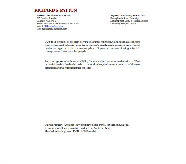animal nutrionist consultant resume template