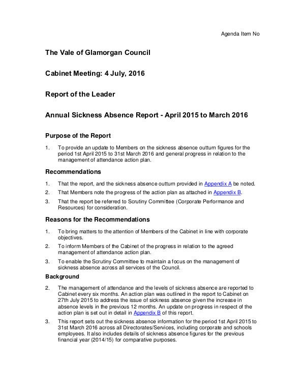 annual sickness absence report