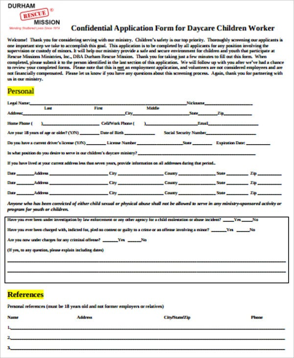 application form for daycare children worker