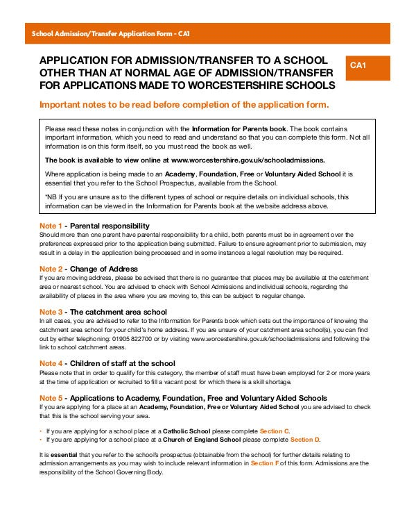 Application for Admission/Transfer to School