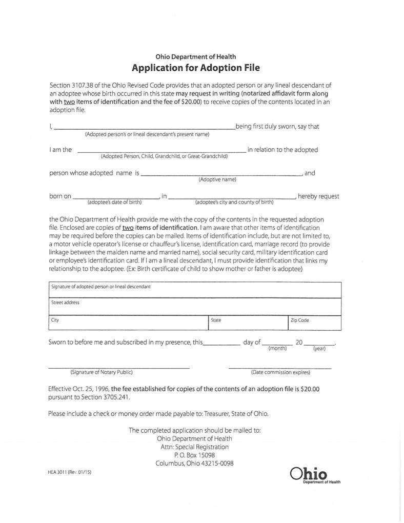 Application for Adoption File