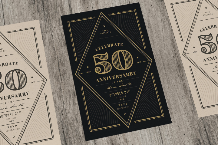 art deco restaurant anniversary invitation template