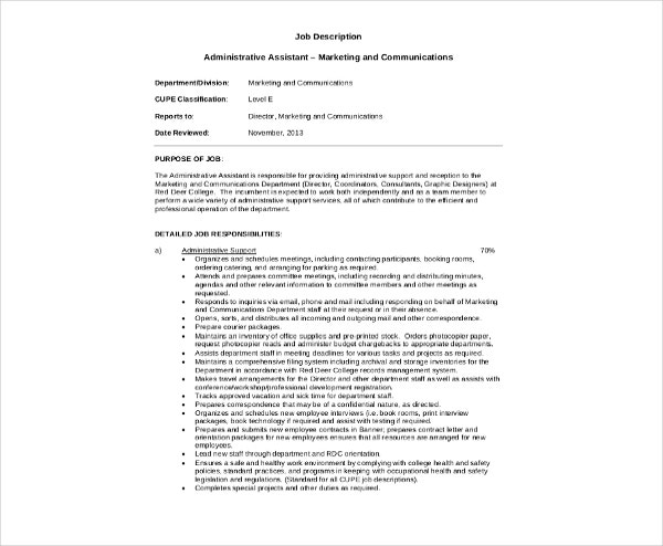 assistant marketing job description template
