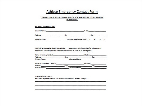 Athlete Emergency Information Form  Contact Information Form Template