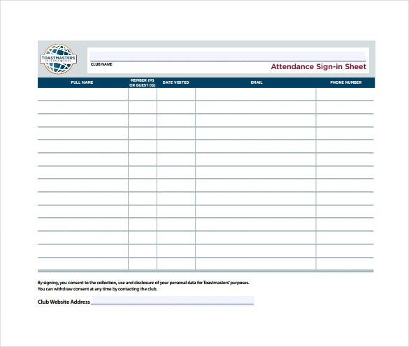 8 printable sign in sheet templates pdf free premium templates