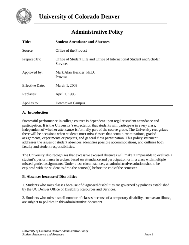 Attendance and Absences Administrative Policy