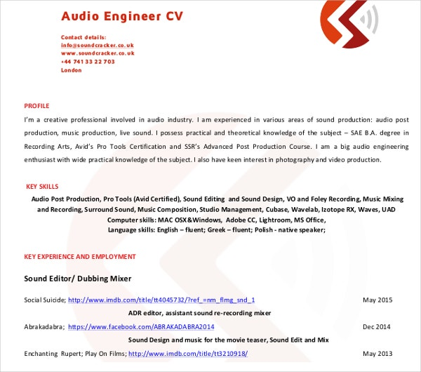 audio engineer cv1