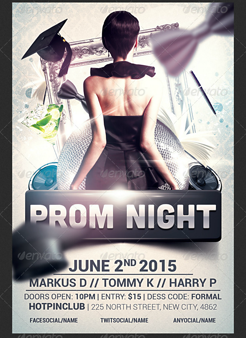Back Prom Night Flyer Template