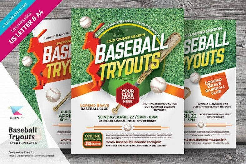 baseball tryouts flyer template 788x525