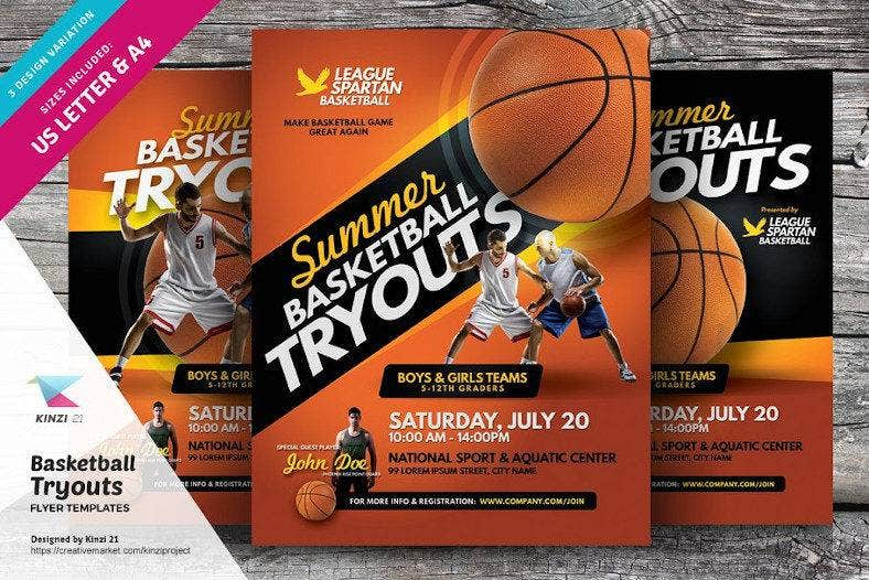 basketball tryouts flyer template 788x526