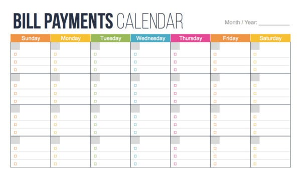 4  bill pay calendar templates