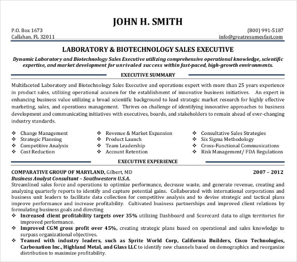 biotechnology sales executive resume