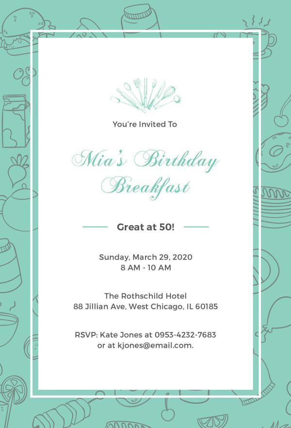 Birthday Breakfast Invitation