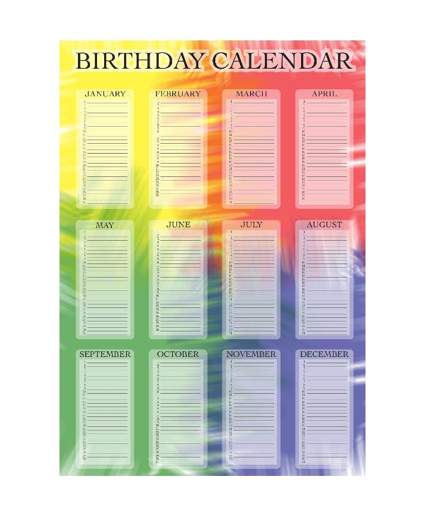 birthday calendar design