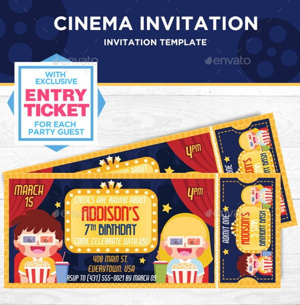 Birthday Party Cinema Invitation