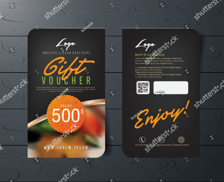 black restaurant promo card voucher template