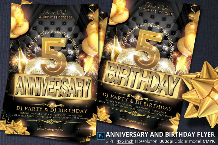 black and gold anniversary and birthday party invitation flyer