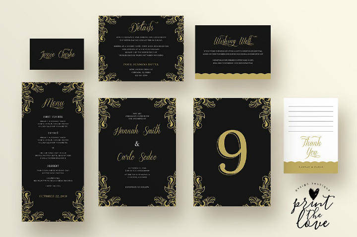 black and gold wedding reception menu template suite