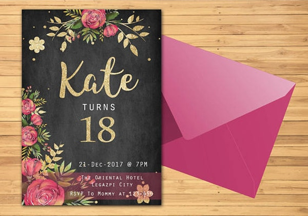 Black and Pink 18th Invitation Template