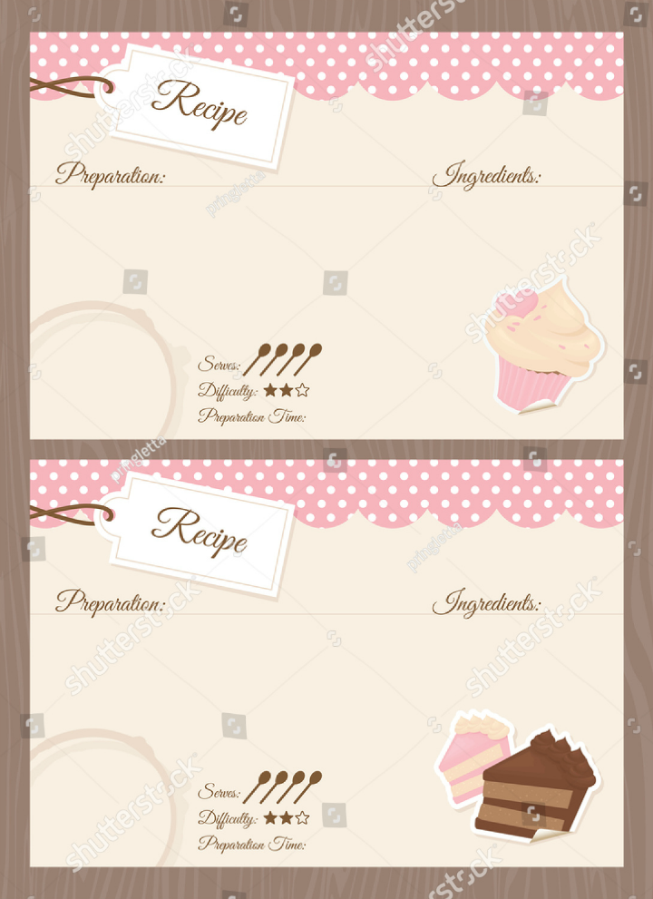 blank-cake-themed-restaurant-recipe-card-template