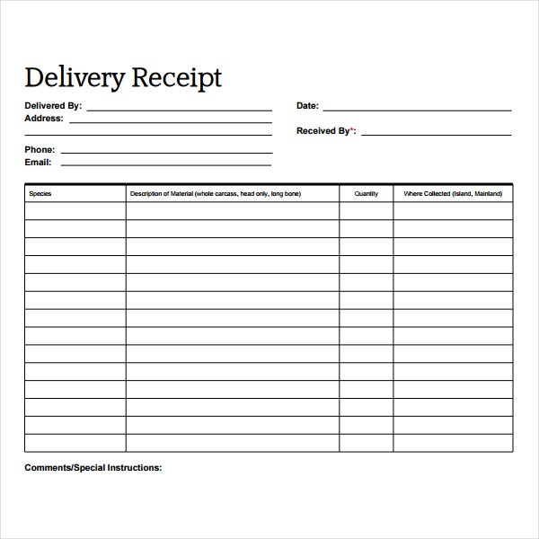 blank delivery receipt sample