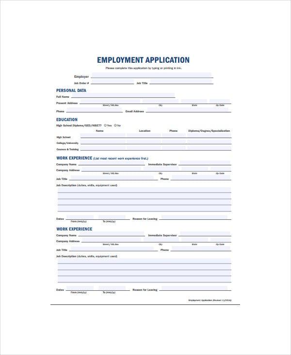 blank employment application form