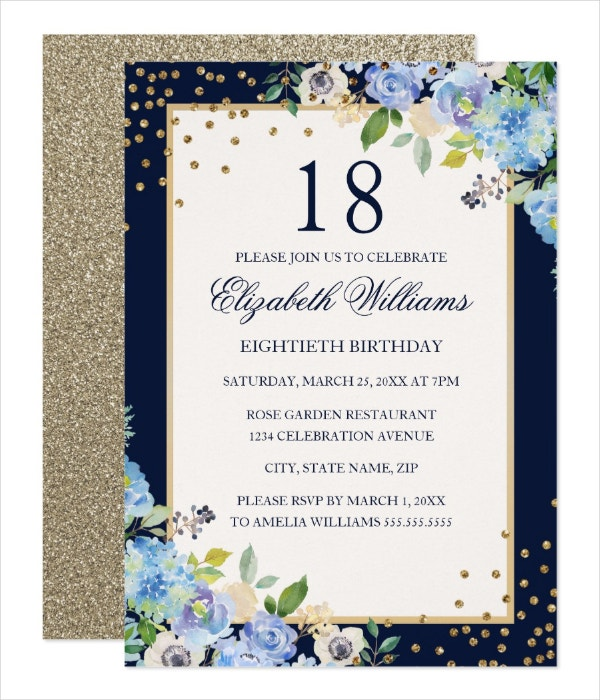 Blue Floral 18th Birthday Invitation