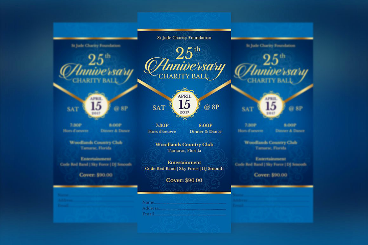blue restaurant anniversary invitation template