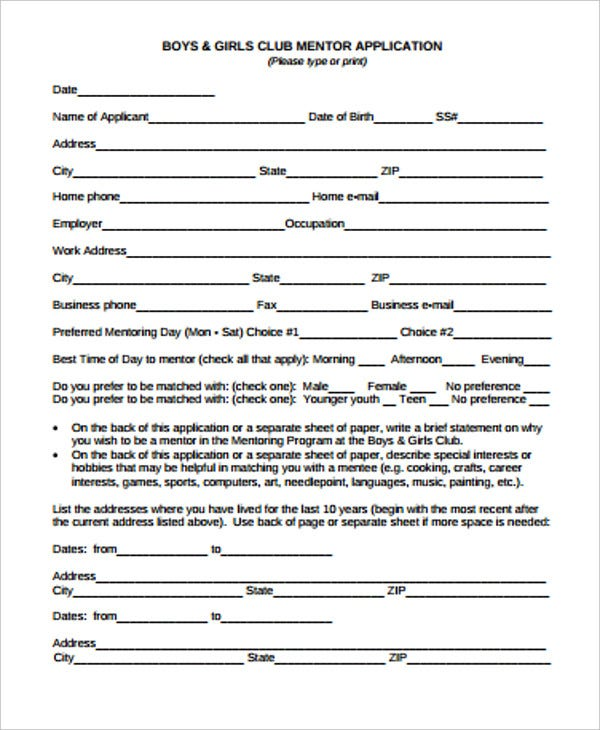 boys and girls club mentor application form