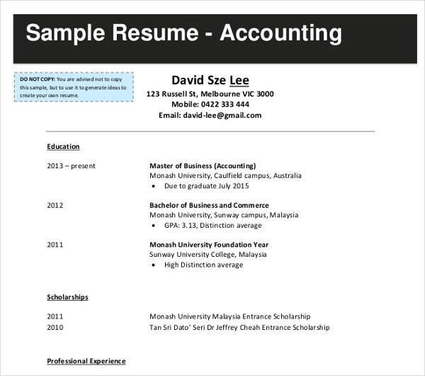 business accountant resume