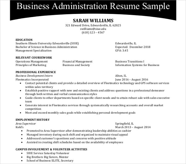 44 Administration Resume Templates Pdf Doc Free