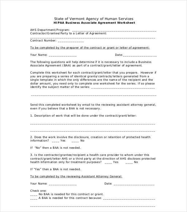 business associate agreement worksheet