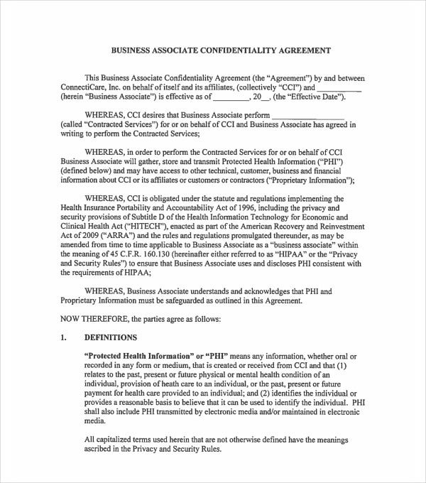 business associate confidentiality agreement