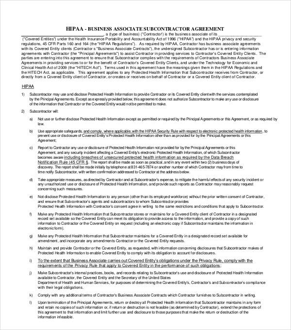 business associate subcontractor agreement