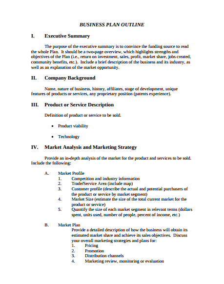 Business Plan Outline Sample
