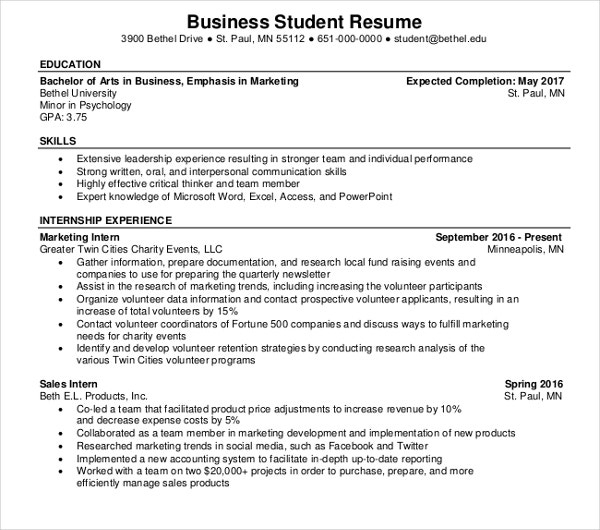 business student resume