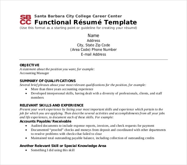 Career Center Functional Resume Template